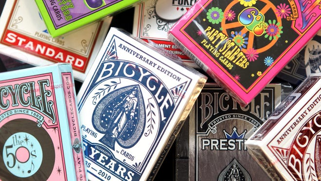 Photo of various decks of Bicycle playing cards made at U.S. Playing Card Co., Hebron
