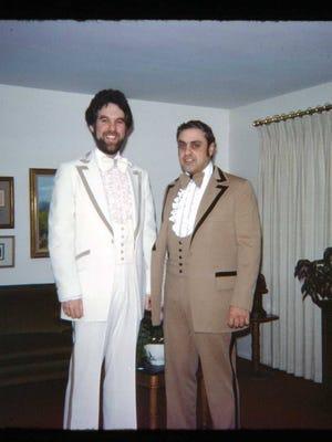Bob Sagan, left, with Paul Cimicata, right. Cimicata died Thursday