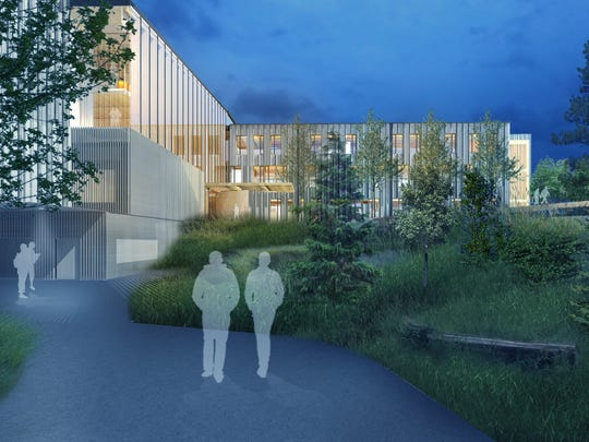 Artist renderings of the new Peavy Hall, Oregon State University's Forest Science Complex, which is under construction. It will use mass timber products researched and developed at the university.