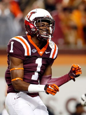 Isaiah Ford celebrates one of his three TD catches.