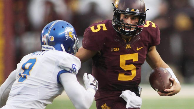 Minnesota quarterback Chris Streveler (5) runs against San Jose State cornerback Jimmy Pruitt in the third quarter on Sept. 20, 2014, during Streveler's lone start for the Gophers.