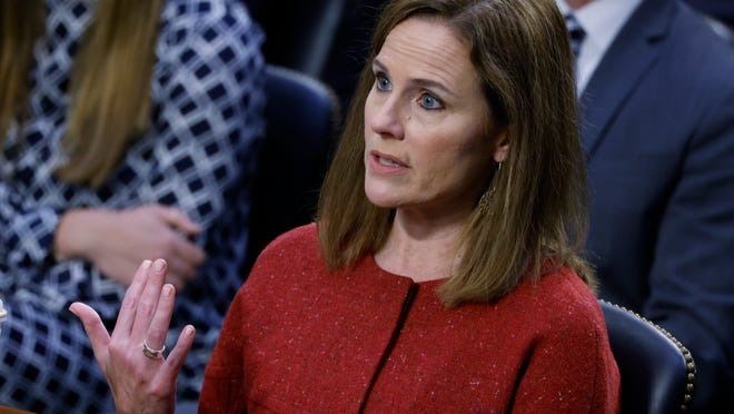 Supreme Court nominee Amy Coney Barrett speaks during the second day of her confirmation hearing before the Senate Judiciary Committee on Capitol Hill in Washington, Tuesday, Oct. 13, 2020.