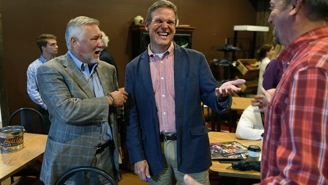 Bill Lee jokes with supporters after a town hall meeting June 28, 2018, at SoKno Market in South Knoxville.
