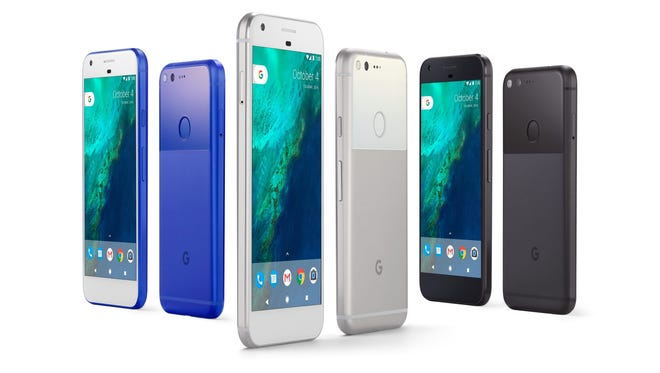 The Google Pixel phone comes in three colors.
