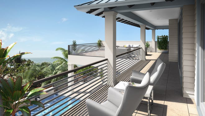 Seagate'sfurnished Captiva model at Hill Tide Estates will feature three upstairs guest en suites, two of which open to a covered deck and two sundecks.