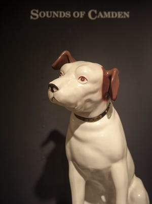 RCA's mascot Nipper greets visitors at the entrance to 'Sounds of Camden' at The Stedman Gallery at Rutgers-Camden.