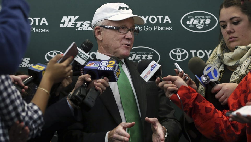 New York Jets owner Woody Johnson answers a question