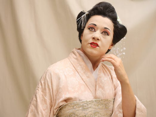 "With a wig, makeup and three costume changes, Maria Luigia Borsi becomes the geisha Cio-Cio San in ""Madame Butterfly."""