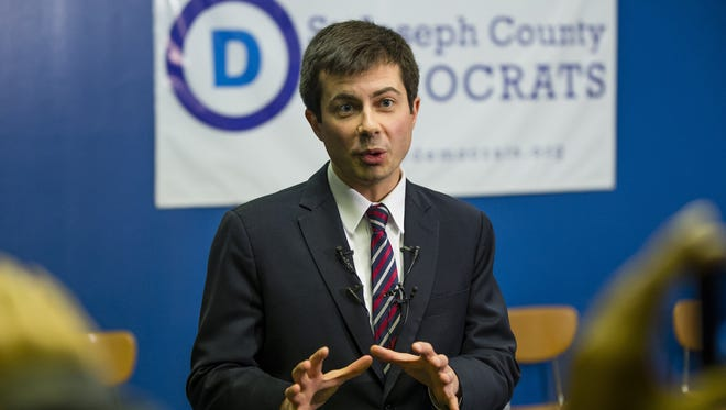 South Bend Mayor Pete Buttigieg speaks to the media, after deciding to run for the Democratic National Committee Chair in January 2017.