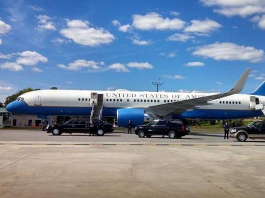 Air Force One on the tarmac at Westchester County Airport.