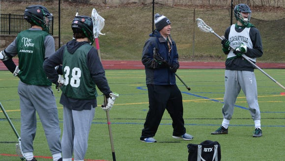 Pleasantville head coach Chris Kear sets up a drill