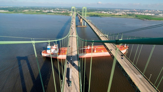 Delaware Memorial Bridge Aerial view showing the two elevated main cables  that hold up the bridge deck one each span