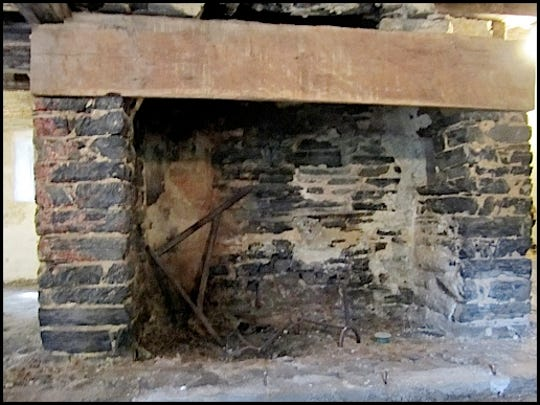 Large Cooking/Butchering Fireplace in the Walkout Basement of the Mid-18th Century Germanic Log House on the grounds of the Historic Hellam Preserve (S. H. Smith, 2015)