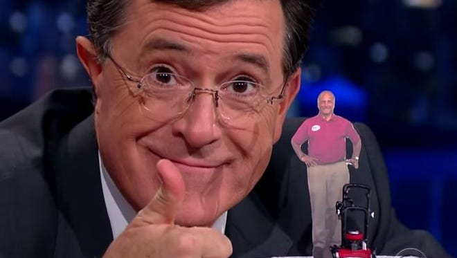 "On Friday night's episode of ""The Late Show with Stephen Colbert,"" the comedian ripped on Iowa congressman Steve King's comments that the gay marriage ruling allows you to wed your lawnmower."