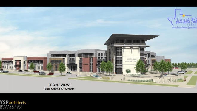 A city of Wichita Falls rendering of a front view of the proposed municipal complex. The approved, the center could be located at Scott and Ohio, from Fifth to Third streets.