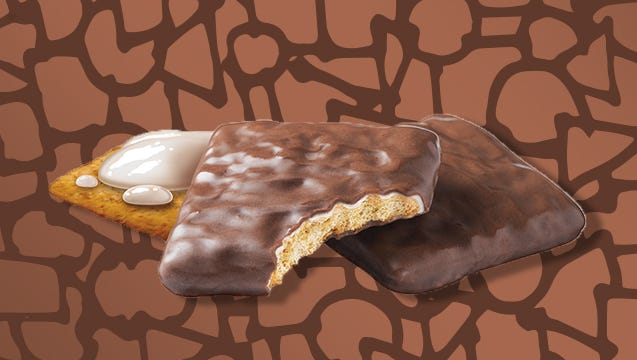 """The """"s'mores-inspired"""" cookie is double-dipped in a crème icing and covered in a chocolaty coating."""
