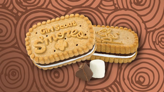 S'mores are a crunchy graham sandwich cookie with chocolate and a marshmallow filling.