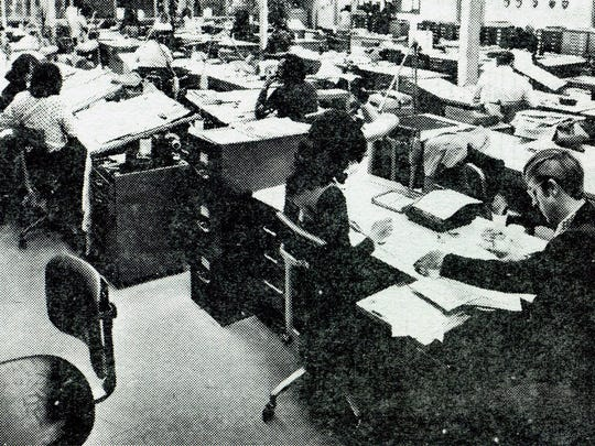 Display Advertisting occupies the bright, cheerful area on the west side of The News-Press building in the mid-1970s.