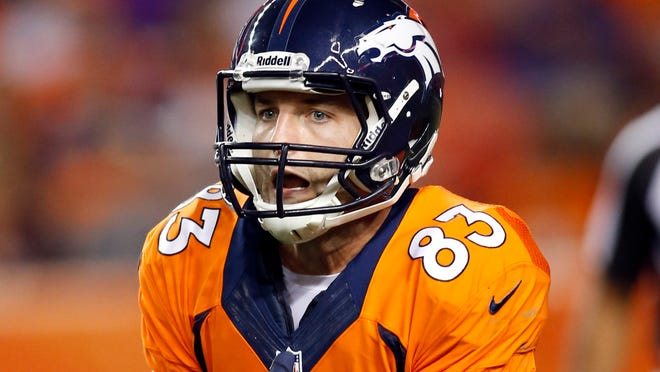 WR Wes Welker caught 73 passes in 2013, his first season with the Broncos.