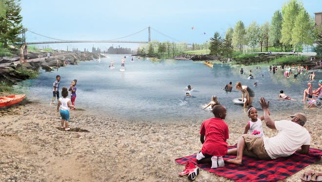 """This rendering of """"The Cove"""" is part of the West Riverfront winning design done by Michael Van Valkenburgh Associates."""