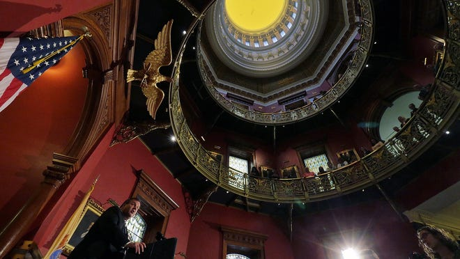 Gov. Chris Christie announces plan to renovate the Statehouse during a press conference in Trenton, NJ Tuesday, Nov. 29, 2016. (Tanya Breen photo)