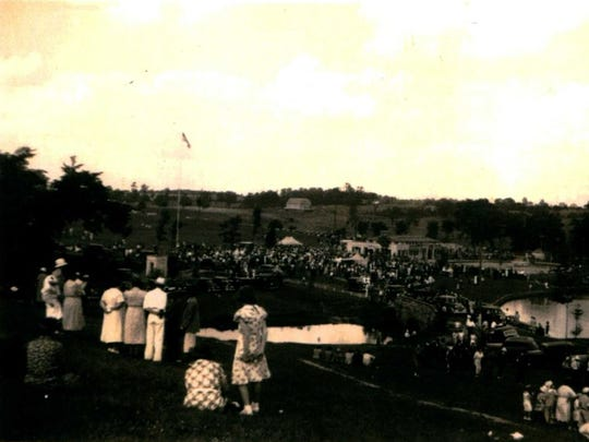 This photo was believed to be taken during the dedication of Liberty Park in 1938.