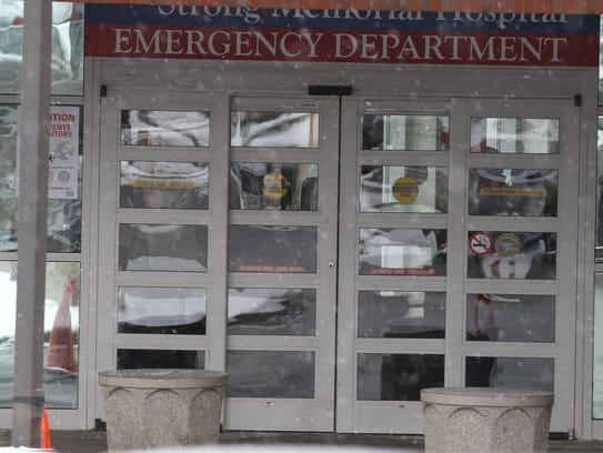 Emergency department entrance at Strong Memorial Hospital.