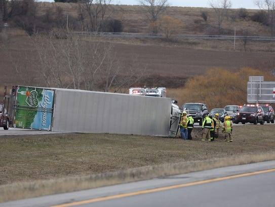 A Wegmans tractor-trailer got pushed by a gust of wind