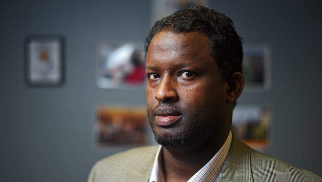 Hirsi Mohamed, president of the African Community Center of Sioux Falls, poses for a portrait Wednesday, Nov. 9, 2016, in Sioux Falls. Mohamed sought asylum in the U.S. after coming here from Ethiopia. He and other immigrants in the area are concerned about the election and potential policy changes under Donald Trump's administration.
