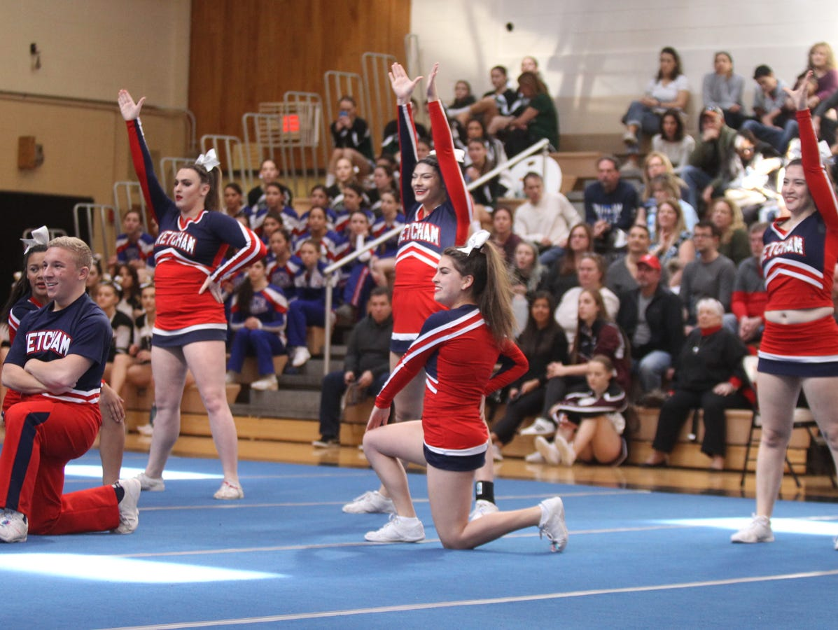 Ketcham High School competes in the section 1 cheerleading championships at White Plains High School in White Plains on Saturday, February 18, 2017.