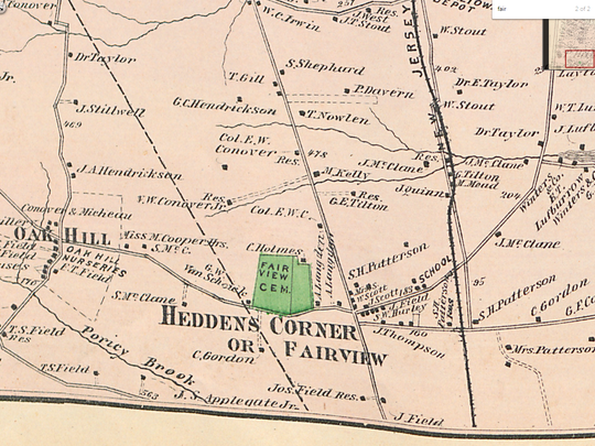 An 1851 map of Middletown shows Fair View Cemetery.