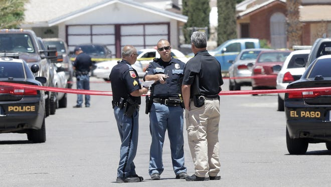 Police investigate an officer involved shooting Monday at the 10900 block of Dizzy Dean Place in the Cooperstown neighborhood in Northeast El Paso.