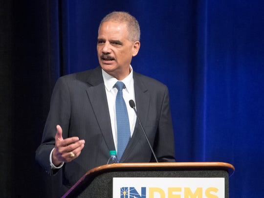 Former Attorney General Eric Holder speaks at the Indiana