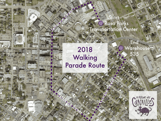 The Krewe de Canailles will parade in downtown Lafayette.
