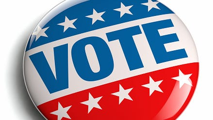 A stock image of a voting button.