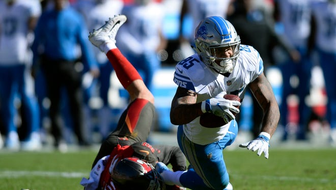 Lions tight end Eric Ebron caught 10 passes for 94 yards on Sunday against the Buccaneers.