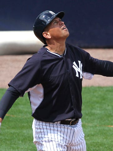 Alex Rodriguez  watches a pop fly during an intrasquad