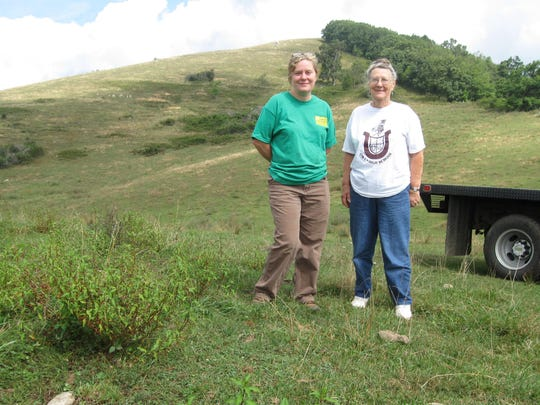 Robin and Betty Reeves stand on a 100-acre field on the historic Reeves Homeplace Farm in the Sandy Mush area of Madison County.