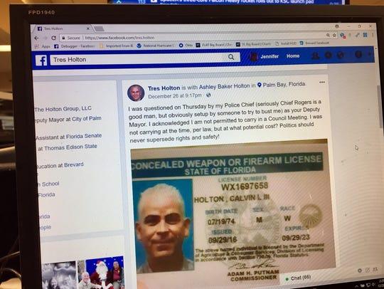 Tuesday, Palm Bay Deputy Mayor Tres Holton posted a