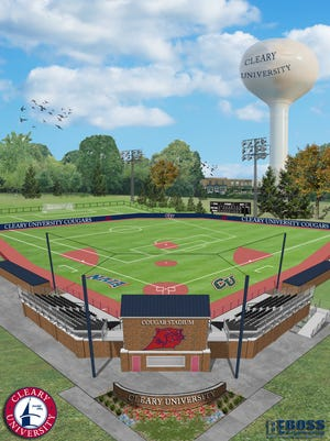 A rendering shows what a proposed multi-sport field at Cleary University in Genoa Township would look like. The university plans to complete construction of the sports facility and a 126-student housing complex by fall 2018, pending township approval.