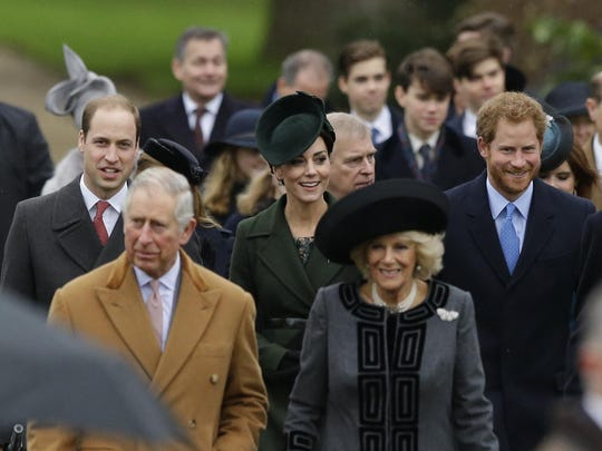 Members of the British royal family attend the traditional Christmas Day church service, at St. Mary Magdalene Church in Sandringham, England, Friday, Dec. 25, 2015. In the foreground, Prince Charles, the Duke of Cornwall, Camilla, the Duchess of Cornwall, followed by from left, Prince William, the Duke of Cambridge, Kate, the Duchess of Cambridge and Prince Harry.