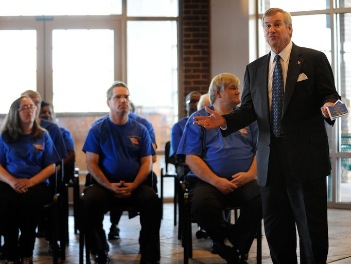 Montgomery Mayor Todd Strange speaks during the Montgomery Police Department Citizen's Police Academy graduation ceremony at Gateway Park in Montgomery, Ala. on Tuesday July 29, 2014.