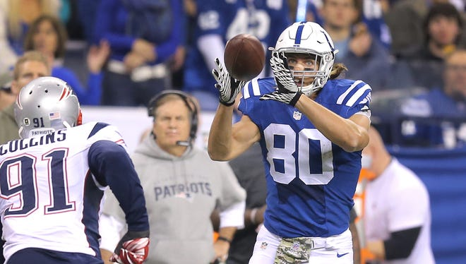 Colts tight end Coby Fleener had his finest game as a professional on Sunday, grabbing seven passes for 144 yards.