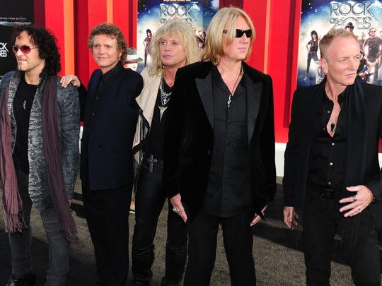 """Def Leppard arrive for the world premiere of the film """"Rock of Ages"""" in Hollywood in 2012."""