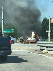 Mindy Chase shared this photo of a vehicle fire at the Strinestown exit (Exit 28) of Interstate 83.