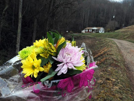 Flowers were left at the home of Joseph and Cristie
