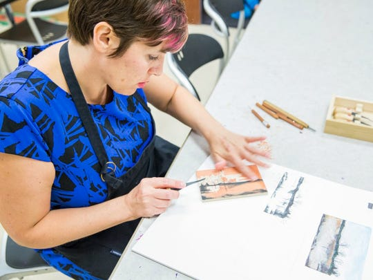 Leslie Dolin will be creating woodblock prints throughout the Gustave Baumann exhibition at Indianapolis Museum of Art (Oct. 24, 2015 - Feb. 14, 2016) to demonstrate the woodblock process. (Eric Lubrick)