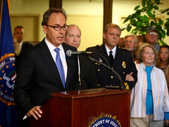 Former U.S. Attorney William Hochul speaks at press conference on Sept. 28, 2016, announcing the arrest of Richard Wilbern for the 2003 robbery-homicide at the Xerox Federal Credit Union. Jamie Germano/@jgermano1/2016 file photo