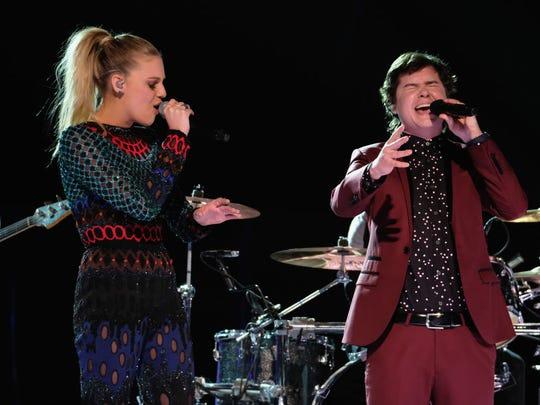 Singers Kelsea Ballerini and Lukas Forchhammer perform