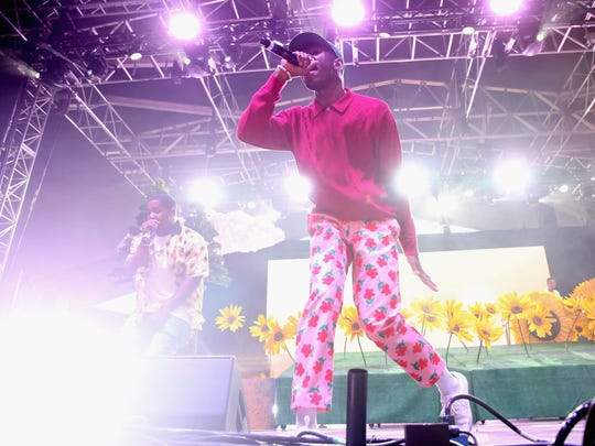 Tyler, The Creator performs on the Pavilion stage during the 2017 Panorama Music Festival at Randall's Island on July 28, 2017 in New York City.  (Photo by Monica Schipper/Getty Images for Panorama)